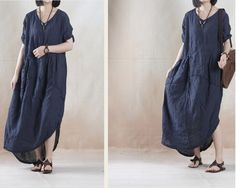 Women linen loose fitting short sleeve summer dress - Buykud
