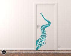 Giant Tentacle Wall/Door Decal (Vinyl Sticker Decal Wall Door Art Nature Octopus Sea Marine)