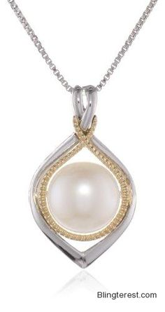 S #Sterling #Silver and 14k Yellow #Gold Framed Freshwater Cultured #Pearl #Pendant #Necklace, 18″ #Jewelry http://blingterest.com/pendants/pearl-pendants/sg-sterling-silver-and-14k-yellow-gold-framed-freshwater-cultured-pearl-pendant-necklace-18-jewelry/