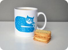 Percy Cat Mug in Teal on Etsy, $17.19