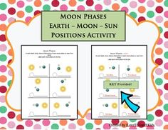 This resource can be used as a quiz, test, or activity while teaching the phases of the moon.Greater understanding for students is the goal of this activity.SAVE $$$ and purchase the BUNDLE for Moon Phases (9 activities)BUNDLE Moon Phases Pack of 9 Activities