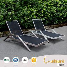 Brushed aluminum swimming pool furniture metal deck lounge chair sunbed sun loungers