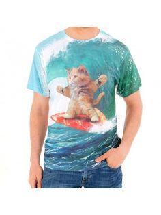 Men's Pizza Surfing Cat Sublimated T-Shirt