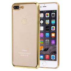 [$1.11] For iPhone 7 Plus Electroplating Transparent Soft TPU Protective Cover Case(Gold)