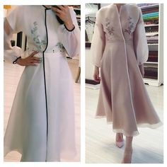 Organza dress in nude and white color . Limited , … Organza dress in nude and white color . Abaya Fashion, Muslim Fashion, Modest Fashion, Fashion Dresses, Trendy Dresses, Nice Dresses, Casual Dresses, Dresses With Sleeves, Abaya Mode
