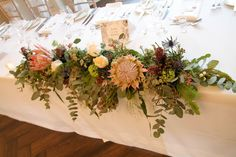 'King Proteas' for Debbie & Liam King's November Wedding Day at Ashfield House November Wedding, Wedding Day, King, Table Decorations, Weddings, Flowers, House, Beautiful, Home Decor