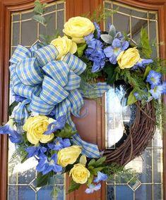 Blue and Yellow Summer wreaths Spring wreath  Front door