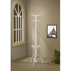 Elegant Coat Rack with Umbrella Stand in Pure White by Coaster