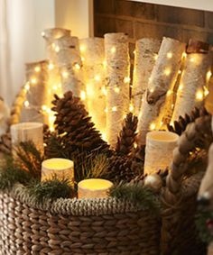 Pass on the expensive holiday decor and outfit your home with natural Christmas decorations. These ideas will bring holiday cheer to your space. Country Christmas, Winter Christmas, Christmas Home, Christmas Crafts, Log Decor, Decoration Table, Xmas Decorations, Natural Christmas Decorations, Christmas Fairy Lights