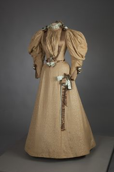 Tan brocade wedding dress with brown and pale blue satin ribbon trim, by Mme. E. Saunders, American (Louisville, KY), 1890s. Worn by Isabel Miller Board for her wedding to Milton Board in Hardinsburg, KY, in 1895.