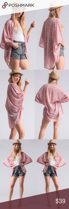 Paisley Lace Kimono 95% Nylon, 5% Spandex. Tops Blouses