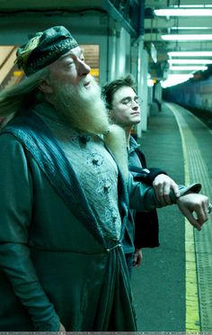 Apparating with Dumbledore. Dumbledore looks like he feels fabulous.