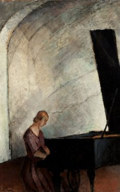 By the grand piano (not dated) - by Alvar Cawén Finnish Expressionist painter (peira) Piano Y Violin, Drawing Piano, Piano Girl, Grand Piano, Art For Art Sake, Woman Painting, Cool Artwork, Female Art, Art Boards