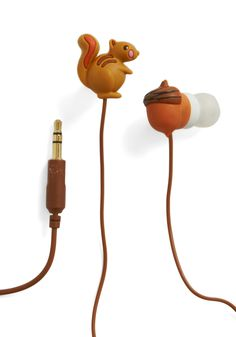 Squirrel ear buds!  Music Nut Earbuds by Decor Craft Inc. - Brown, Kawaii