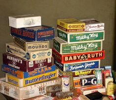 """vintage candy boxes(I see a """"Forever Yours"""" box!  They were my all time favorite!)"""
