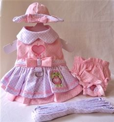 Happy Turtle Harness Dress - Matching Dress, Harness, Hat and Panties 4 piece set. Another precious set for a super price!!!!
