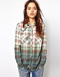 Enlarge River Island Check & Dip Western Shirt #shirt #plaid #shopping