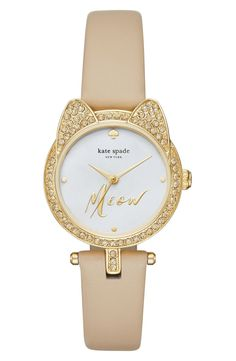 Right about meow is a good a time as any to work Kate Spade's playful sophistication into the wardrobe. Glittering cat ears and a chic monochrome palette strike her signature balance in this comfortably small watch.