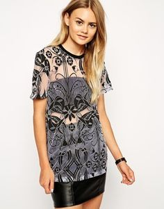 ASOS Top in Burnout with Deco Print