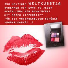 Heute ist #WELTKUSSTAG! :) Schnell bestellen & ein gratis Schminkset mit knallrotem #Lippenstift für den perfekten #Kussmund ergattern! Lots of Kisses, euer #SuperioNaturshop Lipstick, Kissing Lips, Lipsticks, Rouge