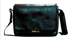 Laptop Bag - School bag - Up-cycled from recycled inner tubes by KMSkilometres on Etsy