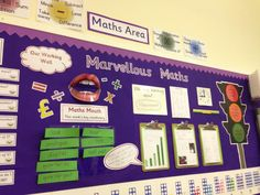Setting Up A Numeracy Working Area Numeracy working walls are becoming ubiquitous in UK primary classrooms but they run the danger of becoming just a display. Displays that the children don't conn… Maths Display Ks2, Primary Classroom Displays, Ks1 Classroom, Teaching Displays, Interactive Display, Classroom Organisation, Classroom Ideas, Class Displays, Teaching Ideas
