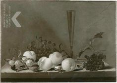 1644 - Aelst, van der Evert -  Still life of fruits and a flute glass on a stone ledge