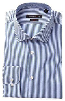John Varvatos Collection JV Pattern Woven Dress Shirt 17x32-33 Blueberry on  Sale 30ae7866e