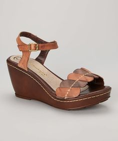 Another great find on #zulily! Terra Two-Tone Pattern Leather Wedge Sandal by Passarela Brazil #zulilyfinds