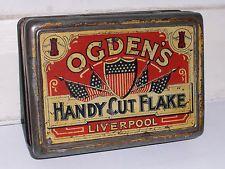 Mega Rare British Ogden's Handy Cut Flake Tobacco Tin c1910 Liverpool