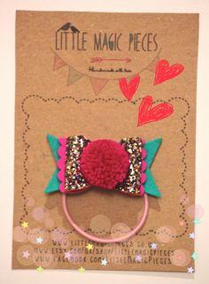 Glitter Bow Hair Bobble Tie Ponytail Holder/ Hair Clip Pom Pom Valentine by Little Magic Pieces