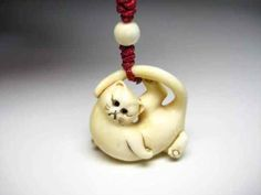 FINE! Rare Japanese Pretty LUCKY Cat Carrying Strap NETSUKE Animal Okimono ZEN Actual Size: w23 x d10 x h22 mm $300 - 11 528,26 руб.
