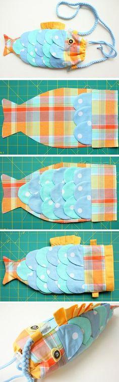 épinglé par ❃❀CM❁✿⊱Cute Fish Handbag for Kids. DIY Tutorial in Pictures. Sewing Tutorials, Sewing Crafts, Sewing Projects, Sewing Patterns, Bag Tutorials, Purse Patterns, Diy Projects, Sewing For Kids, Baby Sewing