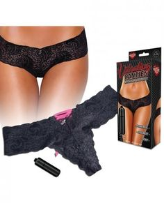 Hustler Vibrating Panties with Bullet Black M/L The Lace Up Back Vibrating Panty by Hustler Lingerie includes a powerful bullet that is discreetly hidden in the panty. Featuring a sophisticated black color, the hot pink lace in the back provides an eye-catching touch of style! Enjoy this panty everywhere you go. Ladies sizes medium to large.