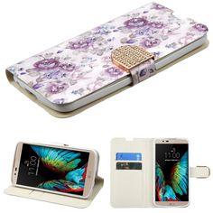 MYBAT Flip Stand Diamante Wallet LG K10 Case - Fresh Purple Flowers