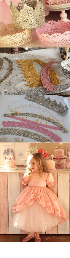 DIY :: lace princess crown for birthday party. I know a sweet little princess who would love one of these Festa Party, Diy Party, Craft Party, Party Favors, Princess Birthday, Girl Birthday, Birthday Ideas, Birthday Crowns, Diy Birthday Crown