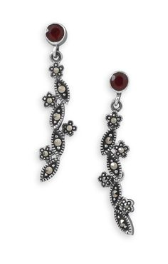 Garnet and Marcasite Drop Earrings