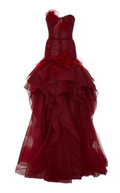Strapless Tulle Drop Waist Gown by Marchesa Fall Winter 2018 Red Evening Gowns, Red Gowns, Tulle Ball Gown, Tulle Dress, Dress Red, Prom Dress, Pretty Dresses, Beautiful Dresses, Marchesa Gowns