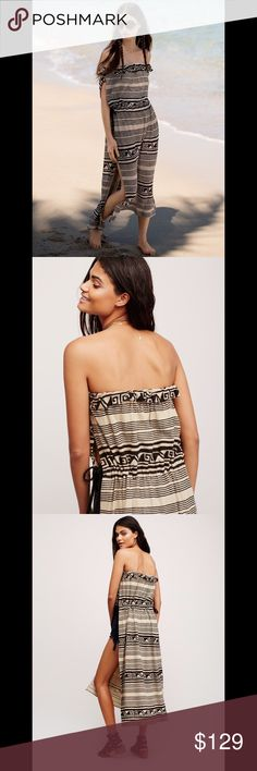 FREE PEOPLE printed tunic maxi Tribal inspired tube tunic in a maxi length featuring exaggerated side vents. Adjustable waistband with braided suede ties and an elastic band at the bust for an effortless fit. 581167  Retail: $118 Size: M (other sizes listed)  ❤I have over 300 new with tag Free People & More items for sale! I love to offer bundle discounts!  ❤No trades. I no longer discuss pricing in comments. Please use offer button to submit offer! 😊 Free People Tops Tunics