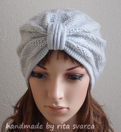 Women's turban, knitted handmade turban hat, front knotted turban, stylish…