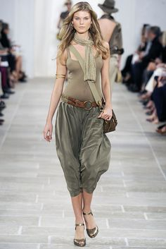 Ralph Lauren Spring 2009 Ready-to-Wear collection was inspired by the Arabian Peninsula men wear pants called sirwal. This garment from Ralph Lauren can be worn for women, it has the same features the low drop crotch and wide leg fit.