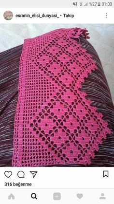 This Pin was discovered by NAH Crochet Boarders, Crochet Lace Edging, Love Crochet, Vintage Crochet, Hand Crochet, Knit Crochet, Crochet Patterns Filet, Filet Crochet, Crochet Stitches