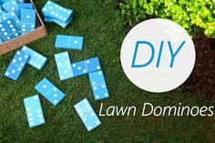 Lawn Dominoes made with wood and painted.