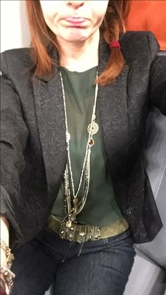 My #outfit yesterday #darkjeans #green #blouse #blackjacket