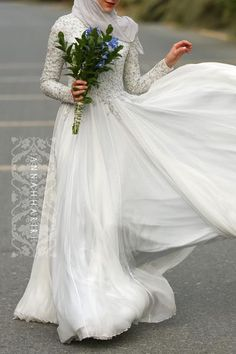 Wedding Dresses Ball Gown, Glamorous Silk-like Chiffon Natural Waistline A-line Arabic Islamic Wedding Dresses With Beaded Embroidery DressilyMe Fancy Wedding Dresses, Muslim Wedding Dresses, Unconventional Wedding Dress, Designer Wedding Dresses, Bridal Dresses, Wedding Gowns, Bridesmaid Dresses, Wedding Hijab, Weeding Dresses