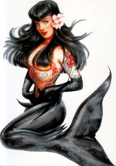 My first bigger piece tattoo was a tattooed Bettie Page mermaid tattoo..