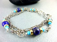 Luxe Turquoise & Lapis Bracelet 3-Strand by EarthEnergyGemstones