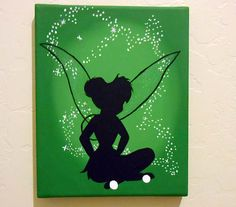 Disney Tinkerbell acrylic canvas painting by stardustcreationz