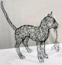 wire art wire sculpture cat and mouse by Elizabeth Berrien