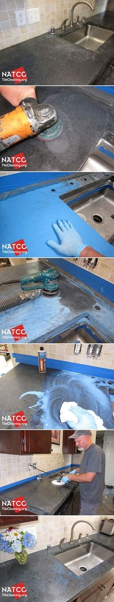 How to clean, remove etch marks, polish and seal a concrete countertop.
